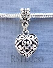 Heart Pendant Dangle Charm large hole Bead fits European Bracelet Necklace  C105