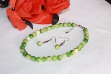 Natural jade stone w/ stainless findings necklace & earrings reiki chakra set