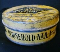 Antique Household Nails Assortment Advertising Tin With Nails