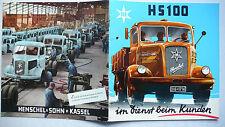 Prospekt Henschel LKW HS 100 - alle Modelle und Varianten, ca.1955, 24 Seiten