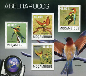 Mozambique Birds on Stamps 2014 MNH Bee-Eaters Chestnut-Headed Bee-Eater 4v M/S