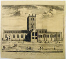 1720s ST DAVID'S CATHEDRAL CHURCH PEMBROKESHIRE VIEW FOLIO SIZE LARGE ENGRAVING