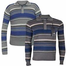 New Mens Stripe Collar Long Sleeves Sweater Placket Knitted Winter Jumper Top