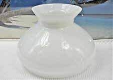 SMALLER SIZE WHITE MILK GLASS SHADE WITH STRIAHT TOP RIM FOR KEROSENE OIL LAMPS