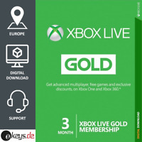 Xbox Live Gold 3 Monate Mitgliedschaft Karte Card Code Key - Xbox One - Xbox 360