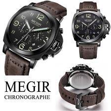 Belle Montre Pour Homme MEGIR Model De Luxe Chronographe Date Bracelet En Cuir