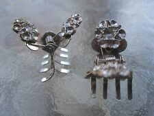 Vintage 2 Ea Mini Flower Claw Clips Silver Colored Metal -10 Tooth Made in USA