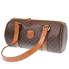 CELINE Macadam Mini Boston Hand Bag Brown PVC Leather Vintage Authentic #4013 W