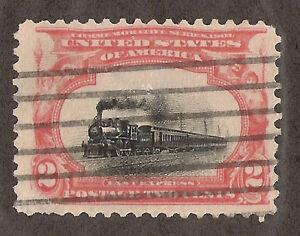 US # 295 (1901) 2c Used, Fine; EFO: Color Shift; SINKING Train