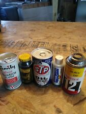 LOT OF 5 VINTAGE OIL CANS ENGINE TREATMENT CANS FULL