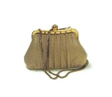 WHITING & DAVIS $285 Vintage Gold Tone Crystal Evening Crossbody Clutch Bag