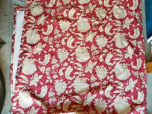 """Pottery Barn """"Red Floral Linen"""" Lined Drape Panel 50 X 96 - 1 Panel"""
