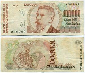 ARGENTINA NOTE 100.000 AUSTRALES (1990) FRAGA-GONZALEZ B# 2892 P 336 VF