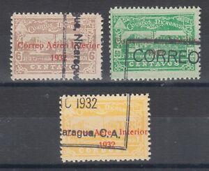 Nicaragua Sc C37-C39 used 1939 red 2-line CORREO AEREO INTERIOR ovpts, F-VF