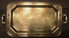 Vintage Brass Etched Tea Serving Tray Dutch Girl Windmill Country Nautical Scene