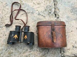 Ww1 Ww2 Era Field Binoculars in Leather Case Ross London Stereo Prism Power =6