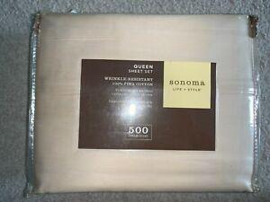 New In Pkg Vintage Somona  500 Thread Count 100% Cotton Queen Sheet Set