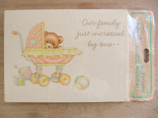 New Hallmark Vintage Cute Baby Bear 8 Adoption Announcements & Envelopes