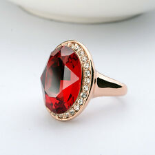 LARGE 18K GOLD PLATED RUBY RED GENUINE CUBIC ZIRCONIA AND AUSTRIAN CRYSTAL RING
