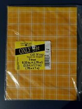 Vintage American Greetings Forget Me Not Gift Wrap Wrapping Paper Orange Plaid