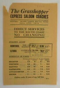 GRASSHOPPER EXPRESS SALOON COACHES (ILFORD) 1934 ~  TIMETABLE SINGLE SHEET