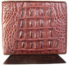 100% BIG BACKBONE GENUINE CROCODILE LEATHER MEN'S BIFOLD WALLET SHINY BROWN NEW
