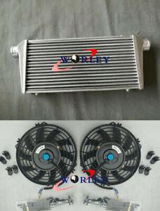 "Universal Aluminum Intercooler + fans 600 x 300 x 76mm Front Mount 3"" In/Outlet"