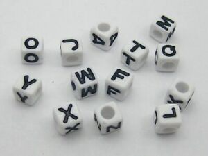 500 White with Black Alphabet Letter Acrylic Cube Beads 6X6mm Jewelry Making