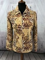 Additions Chico's Womens Corduroy Jacket Multi-Colored Floral Sz 1 Medium 8
