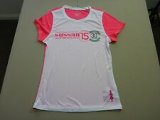 057 WOMENS NWOT CHAMPION WHITE / PINK SUSSAN FUN RUN 15 S/S T-SHIRT SML $70 RRP.