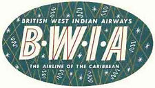 BWIA Airlines (British West Indies) Vintage-Looking  Sticker/Decal/Luggage Label