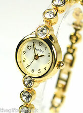 Ladies Sparkling Watch, Elegant Slim Bracelet BIG Real Crystals by Henley, Gol