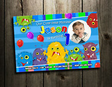 MONSTER LITTLE FUNNY BIRTHDAY PARTY INVITATION CUSTOM 1ST BABY INVITES - BOY