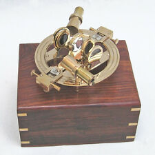 """Round Brass Sextant 7.5"""" w/ Wooden Case Nautical Maritime Astrolabe Boat Decor"""