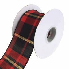Buffalo Dupioni Metallic Plaid Wired Holiday Christmas Ribbon, 2-1/2-Inch, 10 Yd