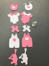 10 Piece Baby Girl Items Pre-made PAPER Die Cuts / Scrapbook & Card Making