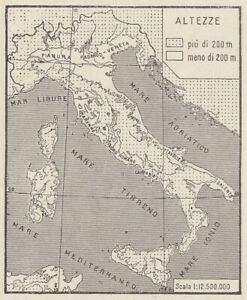 C3506 Italy - Mains Plains - 1938 Map Period - Vintage Map