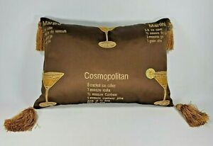 Decorative Embroidered Throw Pillow Cocktails with Ingredients Brown Rectangular