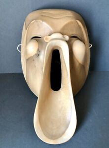 Japanese Wooden Noh Mask, Carved Mask Man with Howling Face