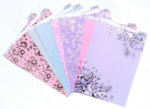 8 x A4 Kanban Foiled Card 'Rambling Rose - Variety Pack' - Just 25p each (230)