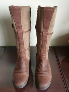 FAT FACE WALLACE BROWN  LEATHER  MID Calf ZIP UP BOOTS UK 7 EU 40