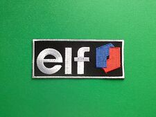 MOTOR RACING OILS, FUELS & TYRES SEW ON / IRON ON PATCH:- ELF (s) STRIPE