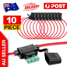 10x Standard Blade Fuse Holder Splash Proof 40A 12 AWG Cable In Line Car Auto