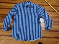 Ben Sherman SOHO Mens Designer Striped Dress Shirt Flip Cuffs