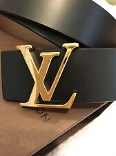 Ex Full Set Louis Vuitton Black Leather Belt Gold LV 85/34