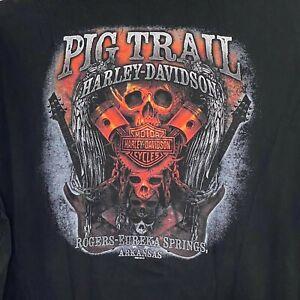 Harley Davidson Pig Trail Rogers Eureka Springs Ark Piston Black Short Sleeve 3X