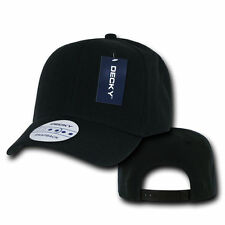 Decky Plain BLACK Snapback Hat Solid Blank 6 Panel CURVE BILL Baseball Cap
