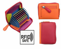 NEW RFID SAFE Red Multi Colour Leather Zipped Card Holder Purse Gift Boxed