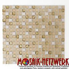 Glasmosaik Natursteinmosaik l weiß matt gold | Mosaikfliese- Art: 92-1201 | 1 qm