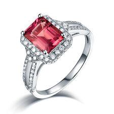 Gemstone Jewelry 14K White Gold Diamond Natural Tourmaline Ring emerald Cut